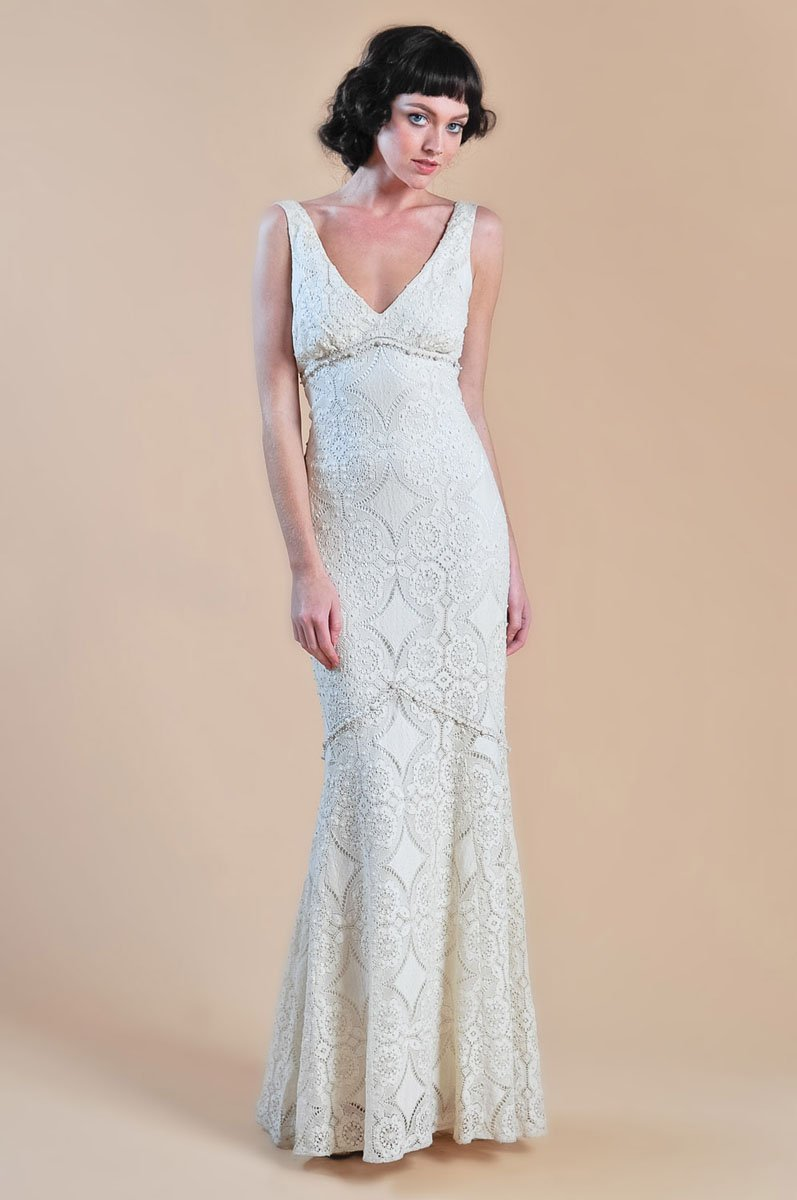 Wedding Dresses, Mermaid Wedding Dresses, Lace Wedding Dresses, Romantic Wedding Dresses, Vintage Wedding Dresses, Fashion, ivory, Vintage, Eco-Friendly, Vineyard, Garden, Boho Chic, Romantic, Lace, V-neck, V-neck Wedding Dresses, Floor, Country, Cotton, Sleeveless, Claire pettibone, Mermaid/Trumpet, trumpet wedding dresses, Boho Chic Wedding Dresses, Floor Wedding Dresses, Cotton Wedding Dresses, Eco Friendly Wedding Dresses
