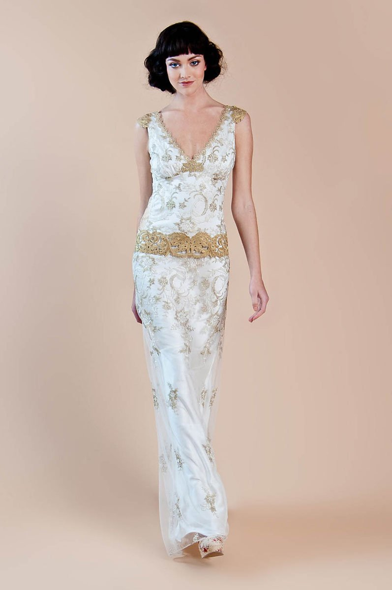 Deauville gold embroidery on fine ivory tulle over a for Silk charmeuse wedding dress