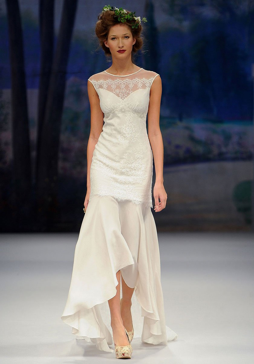 Wedding Dresses, Illusion Neckline Wedding Dresses, Mermaid Wedding Dresses, Romantic Wedding Dresses, Vintage Wedding Dresses, Fashion, ivory, Vintage, Eco-Friendly, Vineyard, Garden, Shabby Chic, Boho Chic, Romantic, Tulle, Country, Illusion, Sleeveless, Claire pettibone, High-low, Fit-n-Flare, bateau, Bateau Wedding Dresses, Boho Chic Wedding Dresses, tulle wedding dresses, high-low wedding dresses, Shabby Chic Wedding Dresses, Eco Friendly Wedding Dresses