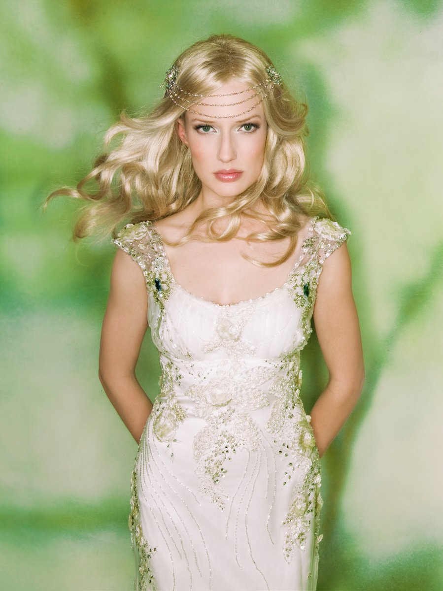 Romantic Wedding Dresses, Fashion, white, ivory, Spring, Summer, Fall, Eco-Friendly, Boho Chic, Romantic, Beading, Empire, Sheath, Tulle, Floor, Scoop, Claire pettibone, cap sleeve, wedding dreses, Beaded Wedding Dresses, Boho Chic Wedding Dresses, Spring Wedding Dresses, tulle wedding dresses, Fall Wedding Dresses, Sheath Wedding Dresses, Summer Wedding Dresses, Scoop Neckline Wedding Dresses, Floor Wedding Dresses, Eco Friendly Wedding Dresses