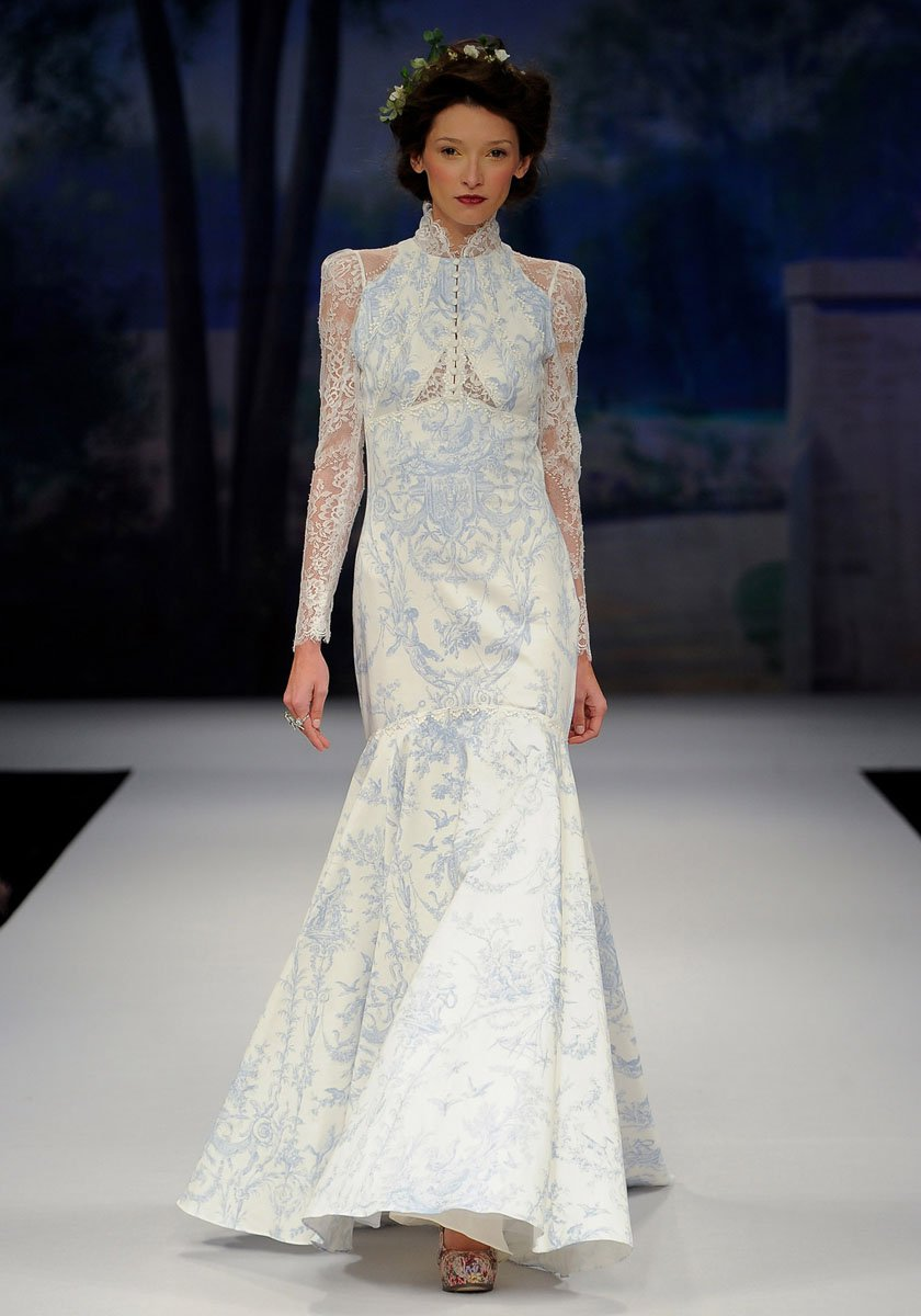 Wedding Dresses, Mermaid Wedding Dresses, Lace Wedding Dresses, Vintage Wedding Dresses, Fashion, ivory, blue, Vintage, Eco-Friendly, Vineyard, Garden, Boho Chic, Lace, Floor, Dropped, Long sleeve, Cotton, Claire pettibone, high-neck, Mermaid/Trumpet, illusion sleeves, trumpet wedding dresses, Boho Chic Wedding Dresses, High Neck Wedding Dresses, Floor Wedding Dresses, Cotton Wedding Dresses, Eco Friendly Wedding Dresses