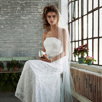 Wedding Dresses, A-line Wedding Dresses, Lace Wedding Dresses, Fashion, Classic, Lace, Strapless, Strapless Wedding Dresses, A-line, David's Bridal, Beaded, Galina, Sleeveless, empire waist, Classic Wedding Dresses