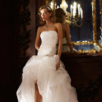 Wedding Dresses, Romantic Wedding Dresses, Fashion, Romantic, Strapless, Strapless Wedding Dresses, Tulle, Organza, Dramatic, David's Bridal, Beaded, Sleeveless, Galina signature, dropped waist, ruched bodice, high to low, beaded flower, organza wedding dresses, tulle wedding dresses
