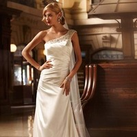 Wedding Dresses, One-Shoulder Wedding Dresses, A-line Wedding Dresses, Fashion, Classic, A-line, David's Bridal, Beaded, Embellished, Galina signature, One-shoulder, floor length, side ruching, beaded shoulder, Classic Wedding Dresses
