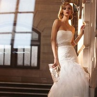 Wedding Dresses, Romantic Wedding Dresses, Fashion, Romantic, Strapless, Strapless Wedding Dresses, Belt, David's Bridal, Sleeveless, Full skirt, Galina signature, dropped waist, beaded waist, emellished