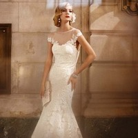Wedding Dresses, Sweetheart Wedding Dresses, Illusion Neckline Wedding Dresses, Lace Wedding Dresses, Romantic Wedding Dresses, Fashion, Classic, Mermaid, Romantic, Lace, Sweetheart, Cap sleeves, Trumpet, David's Bridal, Illusion, Galina signature, floral detail, Classic Wedding Dresses