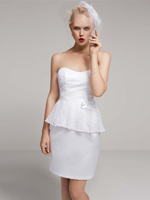 Wedding Dresses, Fashion, Fun, Strapless, Strapless Wedding Dresses, Short, Organza, David's Bridal, Casual, Sleeveless, Peplum, Reception dress, david's bridal studio, Peplum Wedding Dresses, Short Wedding Dresses, organza wedding dresses