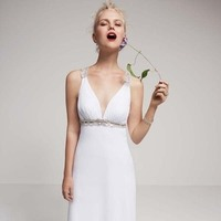 Wedding Dresses, Fashion, Beach wedding, David's Bridal, Beaded, Tank, Grecian, embellished waist, david's bridal studio, back detailing, deep V-neck, plunging neckline