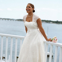 white, ivory, Strapless, A-line, Cap, Satin-ribbon, Tea-length, Shrug
