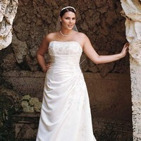 Wedding Dresses, A-line Wedding Dresses, Fashion, Classic, Strapless, Strapless Wedding Dresses, A-line, David's Bridal, Woman, Sleeveless, side draped, Classic Wedding Dresses