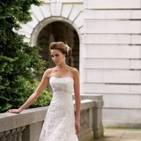 ivory, Rustic, Vineyard, Garden, Shabby Chic, Romantic, Lace, Strapless, A-line, Beading, Empire, Tulle, Floor, Country, David tutera for mon cheri