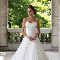 white, ivory, Summer, Classic, Lace, Sweetheart, Strapless, A-line, Beading, Floor, Organza, Ballroom, Pleats, Basque, David tutera for mon cheri, historic site