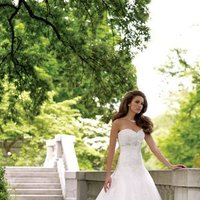 white, Summer, Lace, Sweetheart, Strapless, A-line, Beading, Tulle, Floor, Formal, Ballroom, Dropped, David tutera for mon cheri, historic site