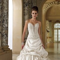 white, ivory, Modern, Sweetheart, Strapless, Beading, Satin, Floor, Formal, Dropped, Pleats, Pick-ups, Sleeveless, Basque, Ball gown, David tutera for mon cheri