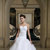 white, ivory, Feathers, Modern, Flowers, Romantic, Lace, Sweetheart, Strapless, Beading, Floor, Formal, Organza, Dropped, Sleeveless, Ruching, Ball gown, David tutera for mon cheri, Sash/Belt