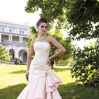 white, ivory, pink, Modern, Square, Flowers, Romantic, Lace, Strapless, Beading, Tulle, Floor, Ruffles, Dropped, Taffeta, Sleeveless, David tutera for mon cheri, Mermaid/Trumpet, Fit-n-Flare