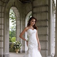 white, ivory, Modern, Lace, Sweetheart, Strapless, Beading, Tulle, Floor, Formal, Dropped, Sleeveless, Ruching, David tutera for mon cheri, Mermaid/Trumpet, Fit-n-Flare