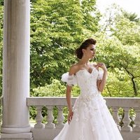 white, ivory, Modern, Flowers, Romantic, Lace, Sweetheart, Strapless, A-line, Off the shoulder, Beading, Tulle, Satin, Floor, Formal, Natural, Sleeveless, David tutera for mon cheri, Jacket/Bolero
