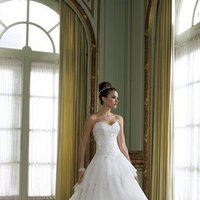 white, ivory, Classic, Lace, Sweetheart, Strapless, A-line, Beading, Tulle, Satin, Floor, Formal, Ruffles, Tiers, Sleeveless, Basque, David tutera for mon cheri