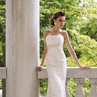 white, ivory, Modern, Square, Lace, Strapless, A-line, Beading, Empire, Sheath, Floor, Chiffon, Formal, Sleeveless, Ruching, David tutera for mon cheri, Sash/Belt