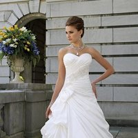 white, ivory, Modern, Sweetheart, Strapless, A-line, Beading, Satin, Floor, Formal, Dropped, Pleats, Pick-ups, Sleeveless, David tutera for mon cheri