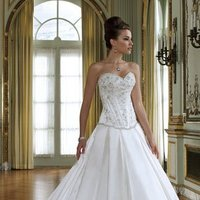 white, ivory, Shabby Chic, Sweetheart, Strapless, A-line, Spaghetti straps, Beading, Satin, Floor, Formal, Pleats, Sleeveless, Basque, David tutera for mon cheri