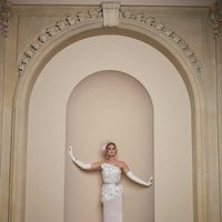 white, ivory, Modern, Flowers, Lace, Strapless, A-line, Beading, Satin, Floor, Formal, Natural, Sleeveless, David tutera for mon cheri, One-shoulder, Avant-Garde, Sash/Belt