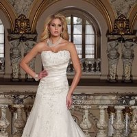 white, ivory, Modern, Lace, Sweetheart, Strapless, A-line, Off the shoulder, Beading, Satin, Floor, Formal, Dropped, Pleats, Sleeveless, David tutera for mon cheri