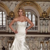 white, ivory, Modern, Strapless, A-line, Spaghetti straps, Beading, Satin, Floor, Formal, Ruffles, Scoop, Dropped, Sleeveless, Ruching, David tutera for mon cheri, Fit-n-Flare, hollywood glam