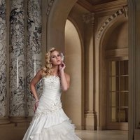 white, ivory, Flowers, Strapless, Beading, Organza, Ruffles, Taffeta, Ball gown, David tutera for mon cheri