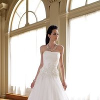 white, ivory, Classic, Square, Flowers, Lace, Strapless, A-line, Beading, Tulle, Floor, Formal, Natural, Sleeveless, Ruching, David tutera for mon cheri