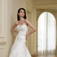 white, ivory, Classic, Flowers, Lace, Sweetheart, Strapless, A-line, Spaghetti straps, Beading, Empire, Tulle, Floor, Formal, Dropped, Modest, Sleeveless, David tutera for mon cheri