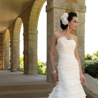 white, ivory, Classic, Flowers, Romantic, Strapless, A-line, Spaghetti straps, Halter, Floor, Formal, Organza, Ruffles, Dropped, Modest, Sleeveless, David tutera for mon cheri
