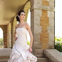 white, ivory, pink, Modern, Square, Flowers, Romantic, Strapless, Satin, Floor, Formal, Dropped, Pick-ups, Sleeveless, Ruching, Ball gown, David tutera for mon cheri