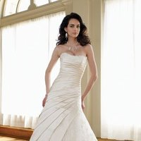 white, ivory, Classic, Lace, Strapless, A-line, Beading, Tulle, Satin, Floor, Formal, Scoop, Dropped, Modest, Pleats, Sleeveless, Ruching, David tutera for mon cheri