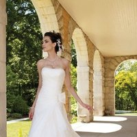 white, ivory, Classic, Strapless, A-line, Beading, Floor, Formal, Organza, Natural, Ruffles, Scoop, Modest, Sleeveless, Ruching, David tutera for mon cheri