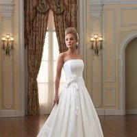 white, ivory, Modern, Classic, Square, Flowers, Strapless, Floor, Formal, Organza, Natural, Taffeta, Modest, Pleats, Sleeveless, Ball gown, David tutera for mon cheri