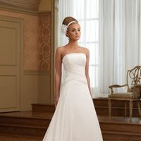 white, ivory, Modern, Square, Strapless, A-line, Beading, Empire, Floor, Chiffon, Formal, Modest, Sleeveless, Ruching, David tutera for mon cheri