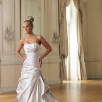 white, ivory, silver, Modern, Strapless, A-line, Beading, Satin, Floor, Formal, Scoop, Dropped, Taffeta, Pleats, Pick-ups, Sleeveless, David tutera for mon cheri