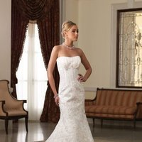 white, ivory, Shabby Chic, Lace, Beading, Empire, Satin, Floor, Formal, Modest, Pleats, Sleeveless, David tutera for mon cheri, Mermaid/Trumpet