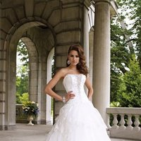 white, ivory, Modern, Square, Lace, Strapless, Beading, Tulle, Floor, Formal, Organza, Ruffles, Dropped, Sleeveless, Ball gown, David tutera for mon cheri