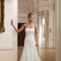 A-line, Beading, David tutera for mon cheri, Empire, Floor, Halter, ivory, Lace, Pleats, Spaghetti straps, Strapless, white