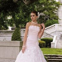 white, ivory, pink, Modern, Square, Romantic, Lace, Strapless, A-line, Satin, Floor, Formal, Dropped, Sleeveless, Ruching, David tutera for mon cheri