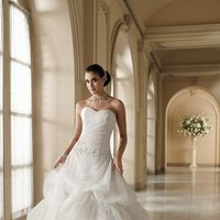 white, ivory, Modern, Lace, Sweetheart, Strapless, A-line, Beading, Floor, Formal, Organza, Dropped, Taffeta, Pick-ups, Sleeveless, Ruching, David tutera for mon cheri