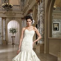 white, ivory, Modern, Lace, Sweetheart, Strapless, Beading, Satin, Floor, Formal, Tiers, Dropped, Pleats, Pick-ups, Sleeveless, David tutera for mon cheri, Mermaid/Trumpet, Fit-n-Flare