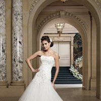 white, ivory, Classic, Lace, Strapless, A-line, Beading, Tulle, Floor, Formal, Scoop, Dropped, Modest, Pleats, Sleeveless, David tutera for mon cheri