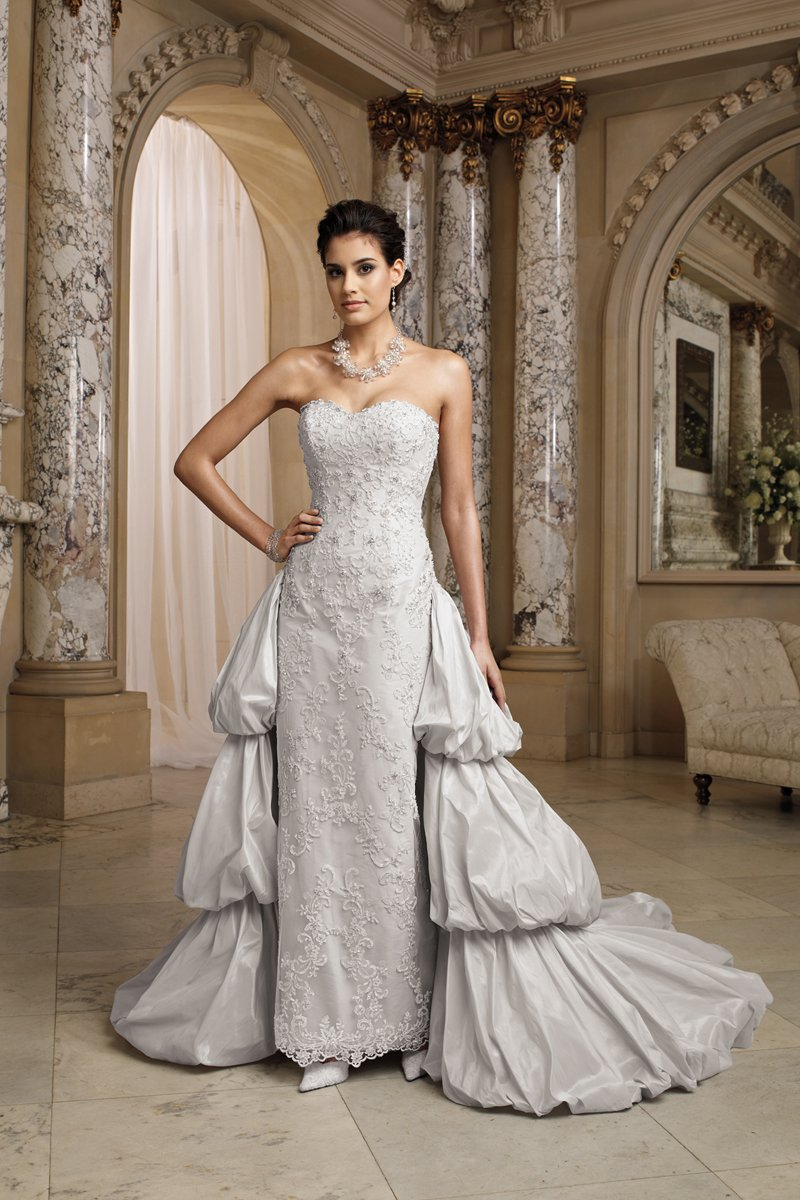 white, ivory, silver, Modern, Lace, Sweetheart, Strapless, Sheath, Satin, Floor, Formal, Dropped, Pick-ups, Sleeveless, Ball gown, David tutera for mon cheri, Avant-Garde