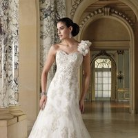 white, ivory, Modern, Flowers, Romantic, Lace, Sweetheart, A-line, Tulle, Floor, Formal, Ruffles, Dropped, Sleeveless, David tutera for mon cheri, One-shoulder