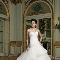 white, ivory, Modern, Lace, Sweetheart, Strapless, A-line, Beading, Floor, Formal, Organza, Ruffles, Tiers, Dropped, Sleeveless, Ruching, David tutera for mon cheri