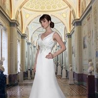 Wedding Dresses, A-line Wedding Dresses, Fashion, white, Classic, A-line, Beading, V-neck, V-neck Wedding Dresses, Satin, Sleeveless, Davinci bridal, floor length, embellished waist, Beaded Wedding Dresses, Classic Wedding Dresses, satin wedding dresses